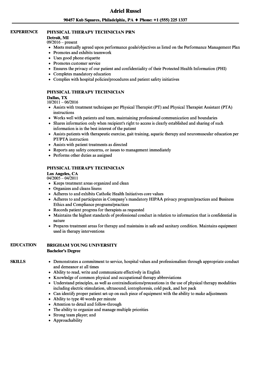 physical therapy technician resume samples