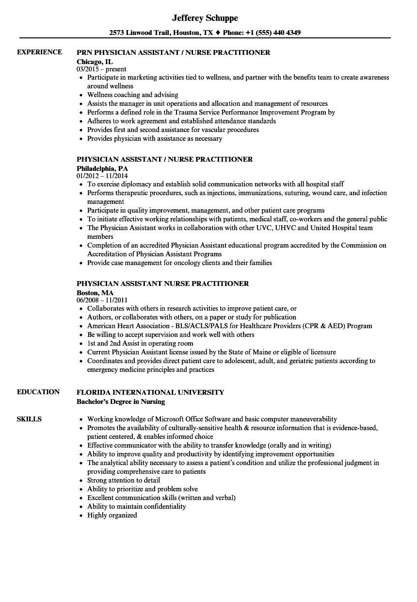 Physician Assistant / Nurse Practitioner Resume Samples | Velvet Jobs