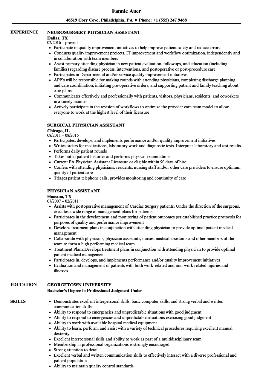 Velvet Jobs  Physician Assistant Resume Sample