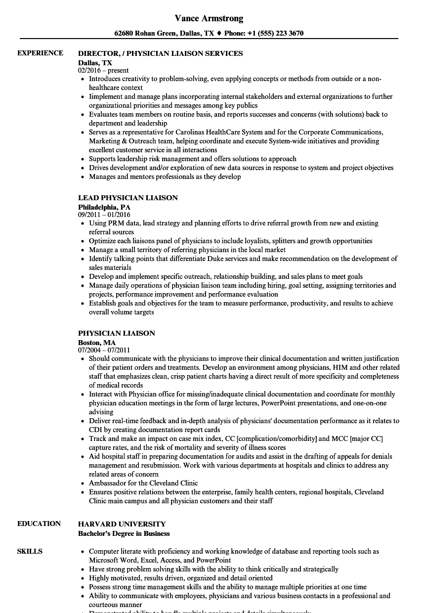 Physician Liaison Resume Samples Velvet Jobs