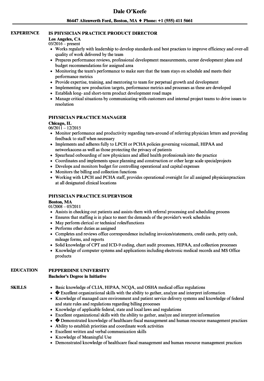 physician practice resume samples