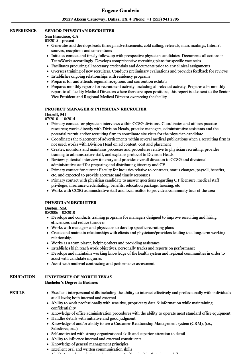Physician Recruiter Resume Samples | Velvet Jobs