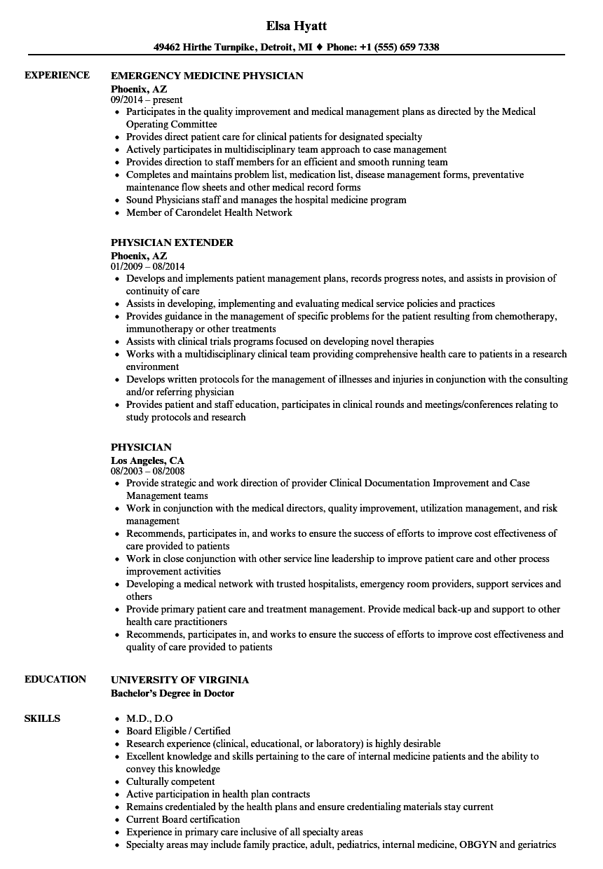 Physician Resume Samples Velvet Jobs