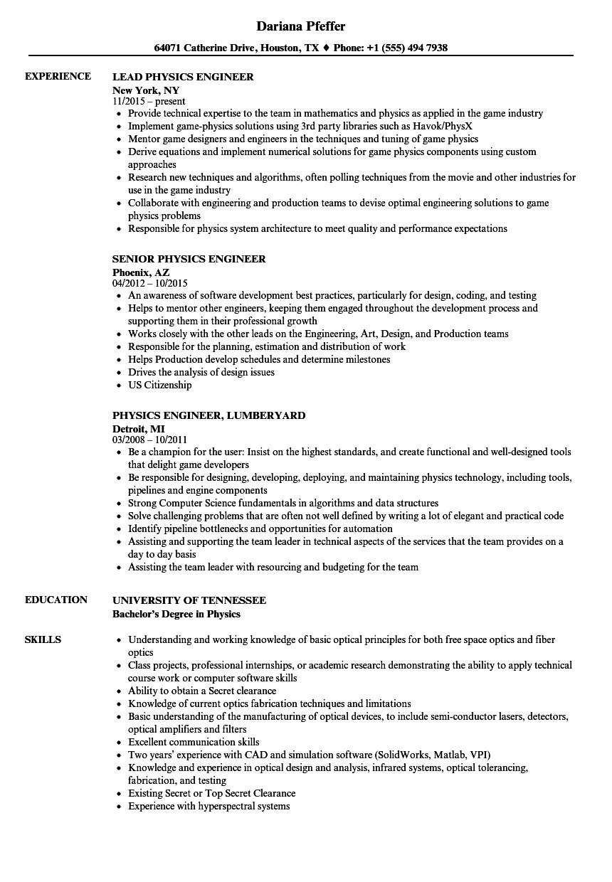 physics engineer resume samples