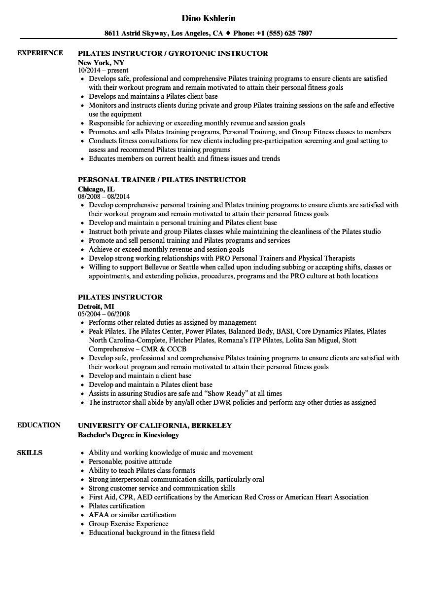 download pilates instructor resume sample as image file - Fitness Instructor Resume Sample