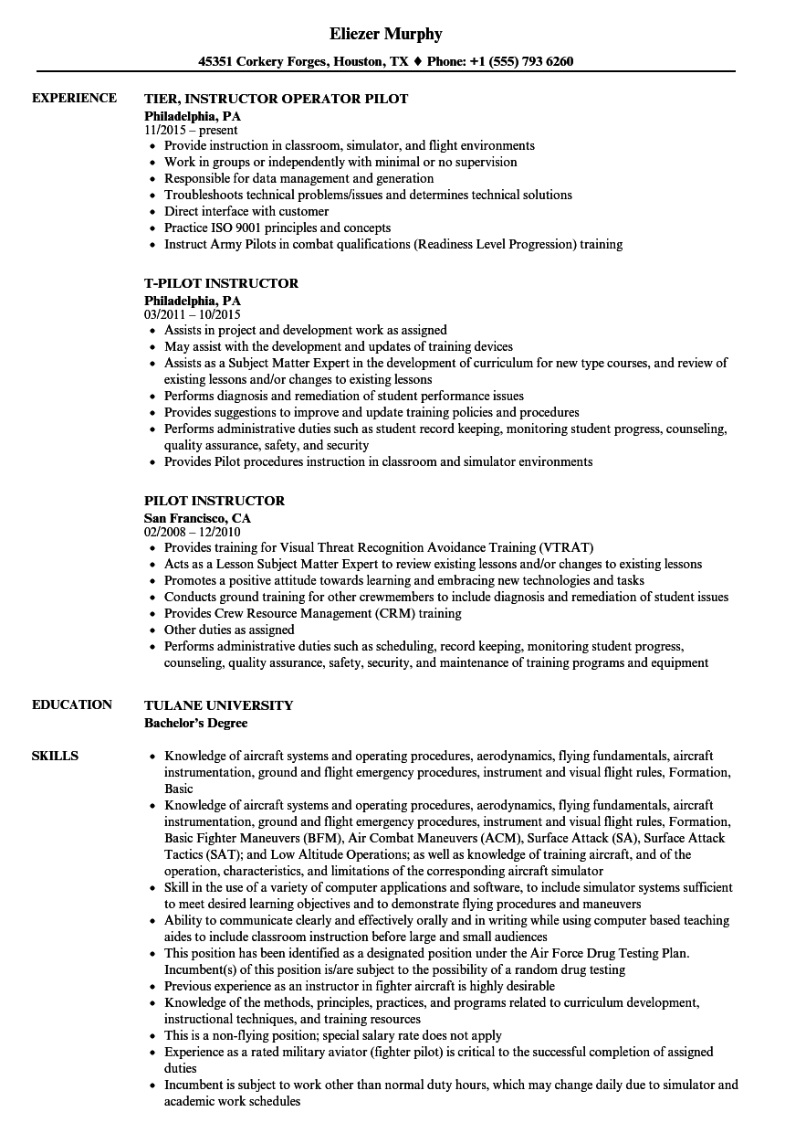 Pilot Instructor Resume Samples | Velvet Jobs