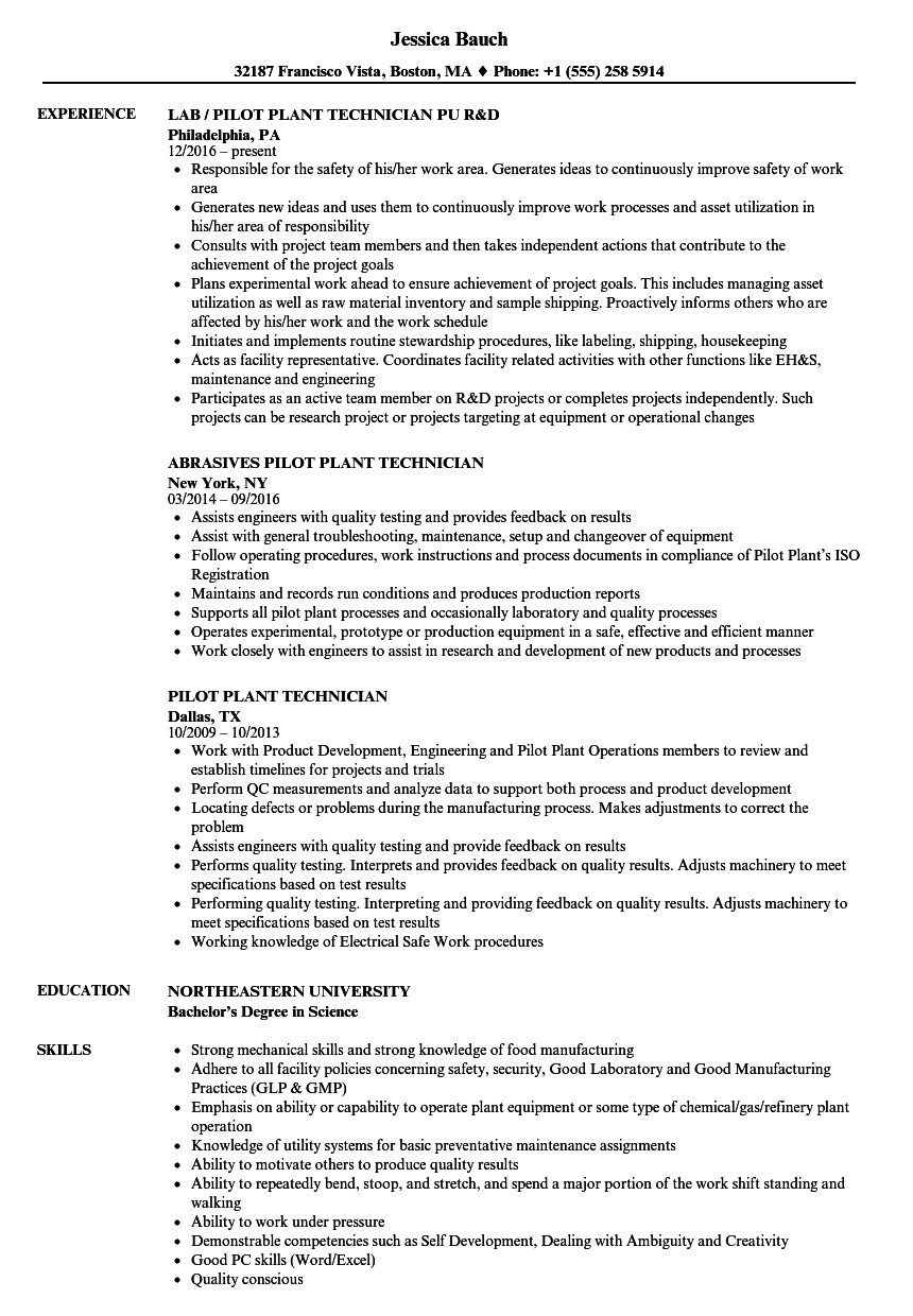 Pilot Plant Technician Resume Samples | Velvet Jobs