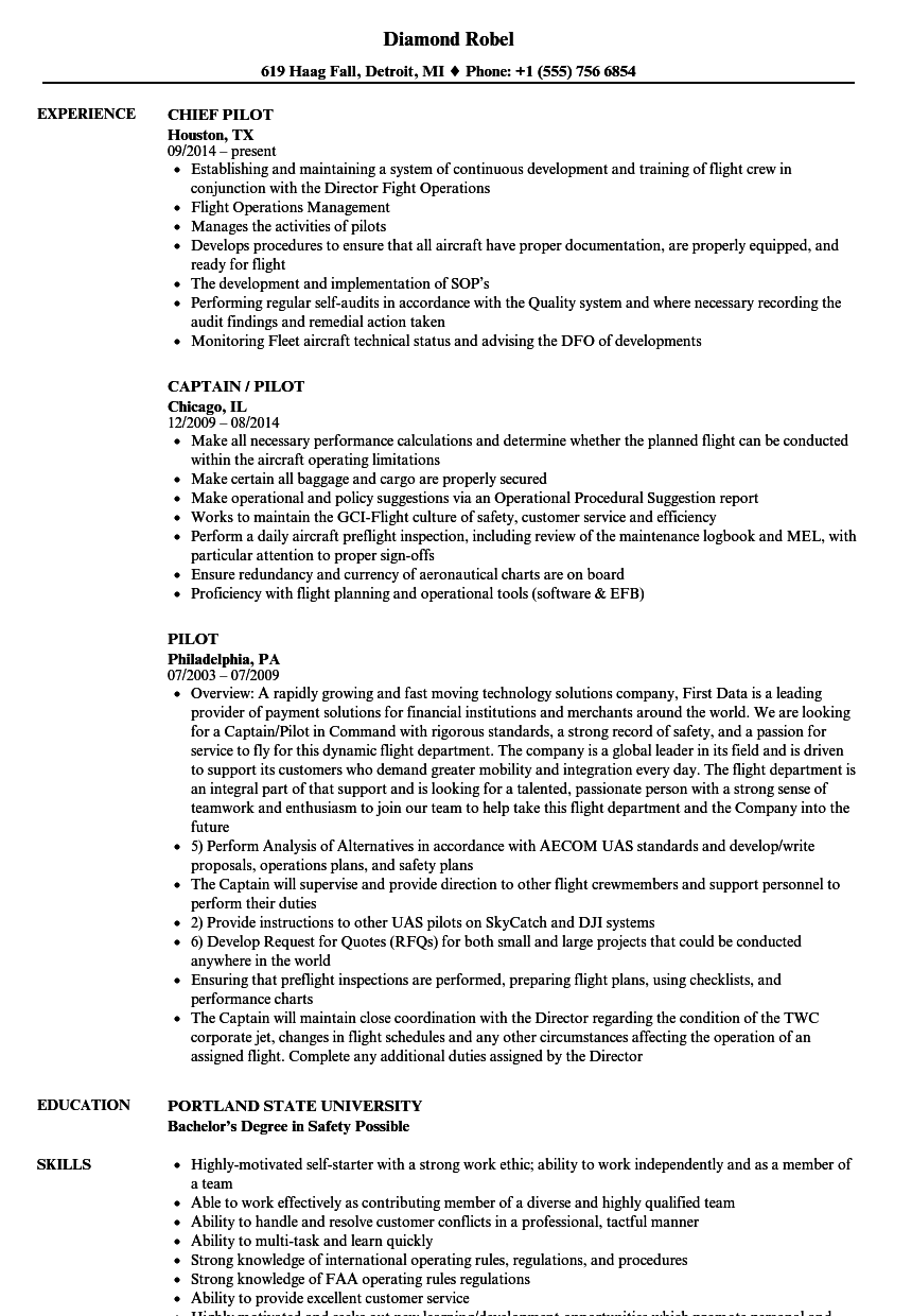 Pilot Resume Samples Velvet Jobs