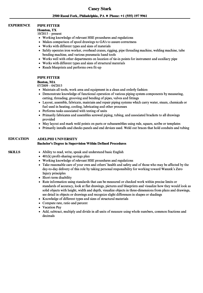 Pipe Fitter Resume Samples | Velvet Jobs