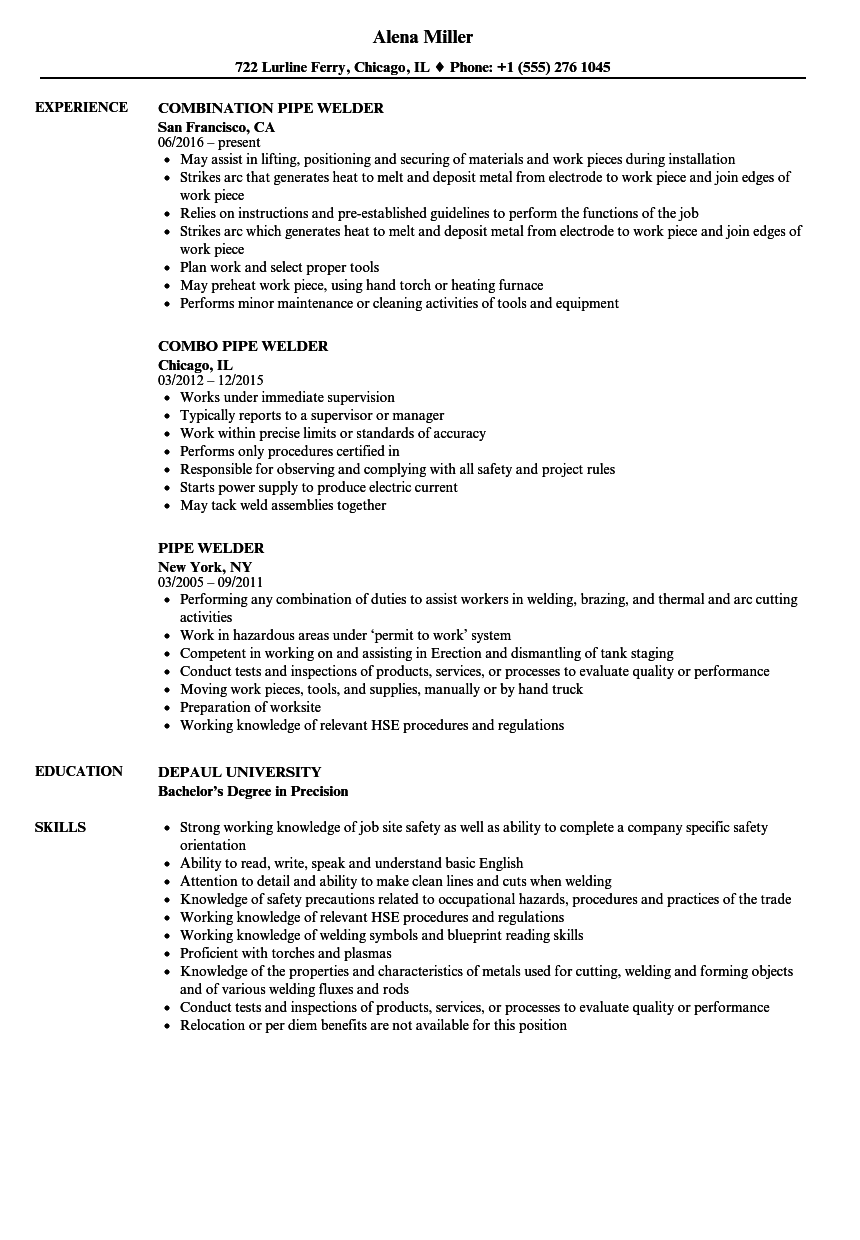 Pipe Welder Resume Samples | Velvet Jobs