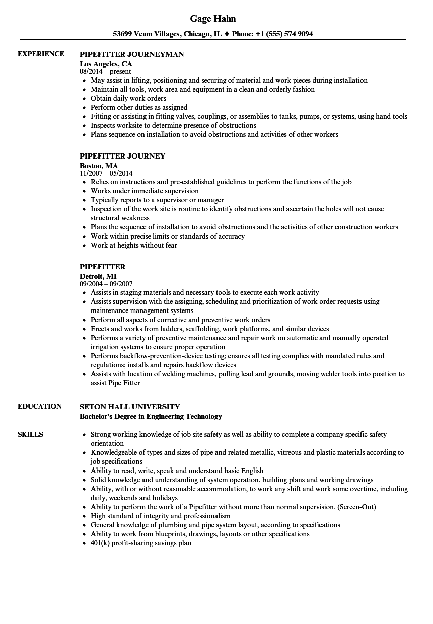 Pipefitter Resume Samples | Velvet Jobs