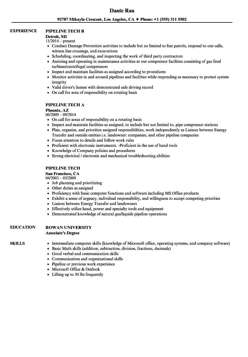 Pipeline Tech Resume Samples | Velvet Jobs
