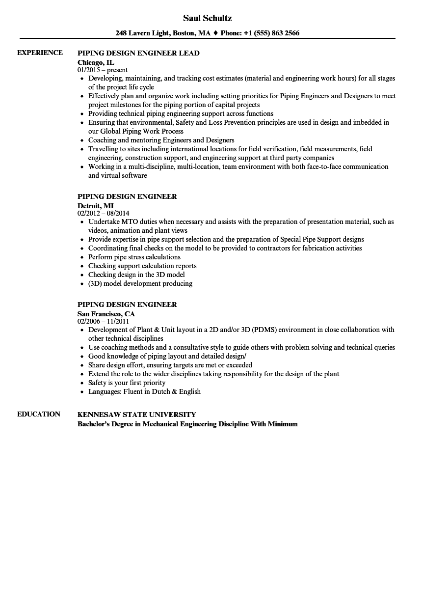 piping design engineer resume samples