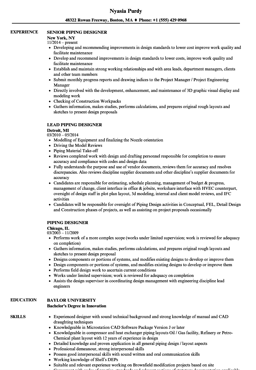 Piping Designer Resume Samples | Velvet Jobs
