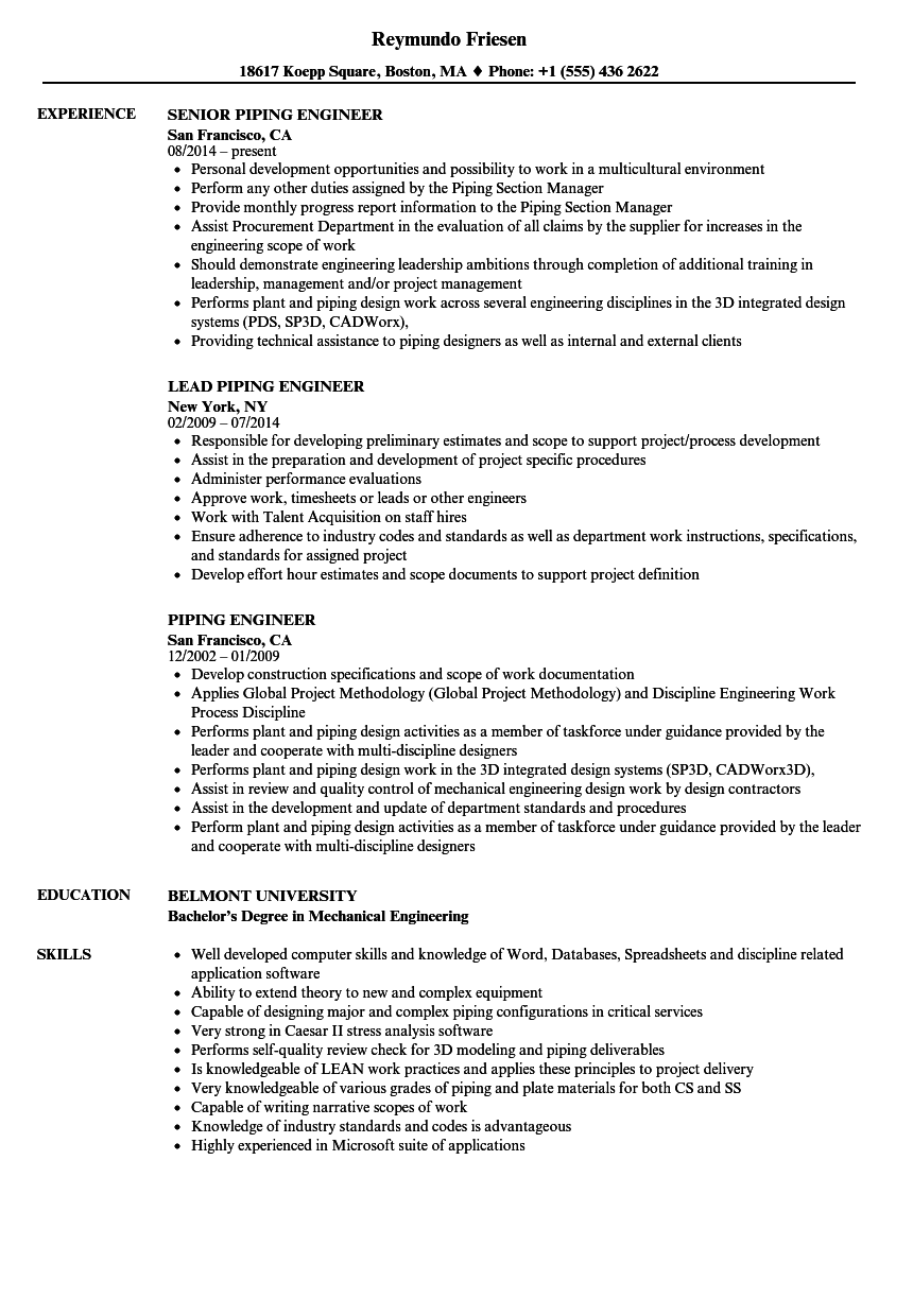 piping engineer resume samples