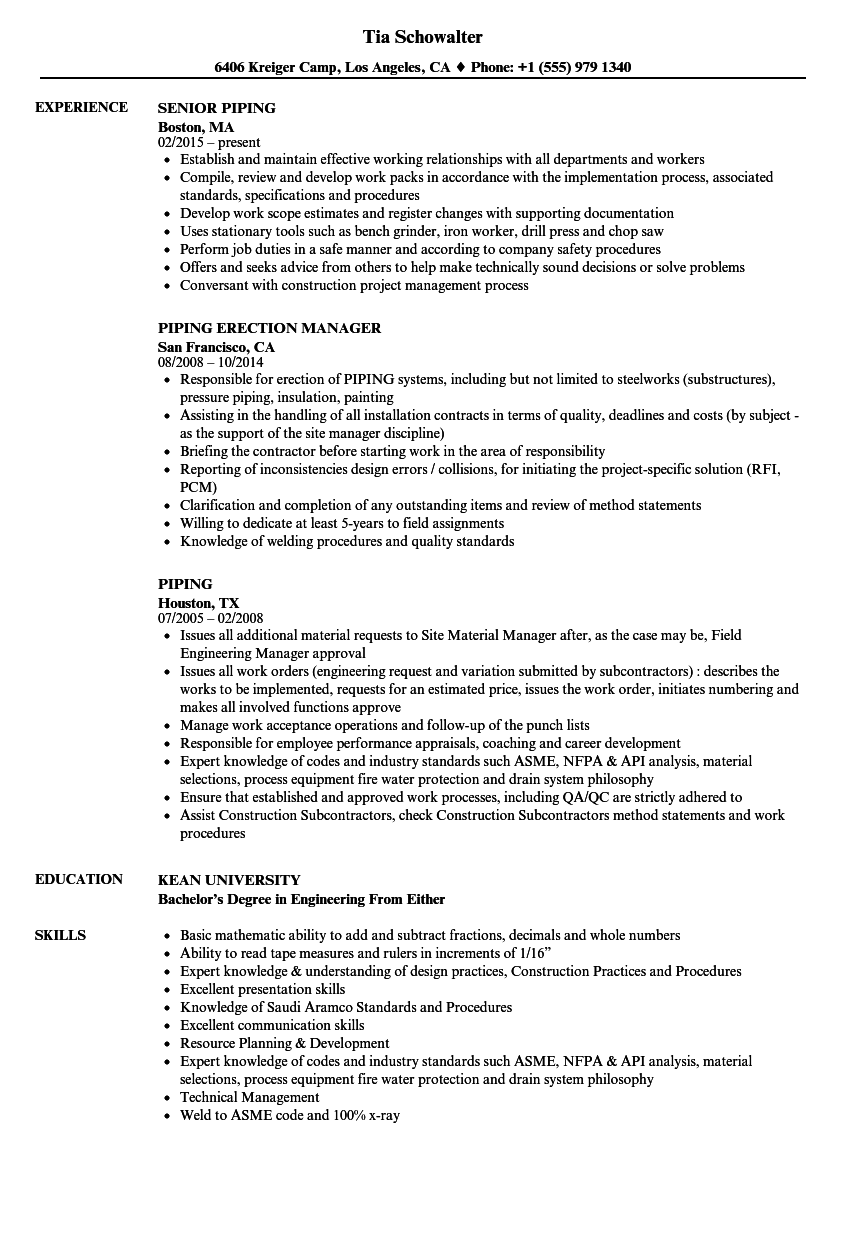 Piping Resume Samples | Velvet Jobs