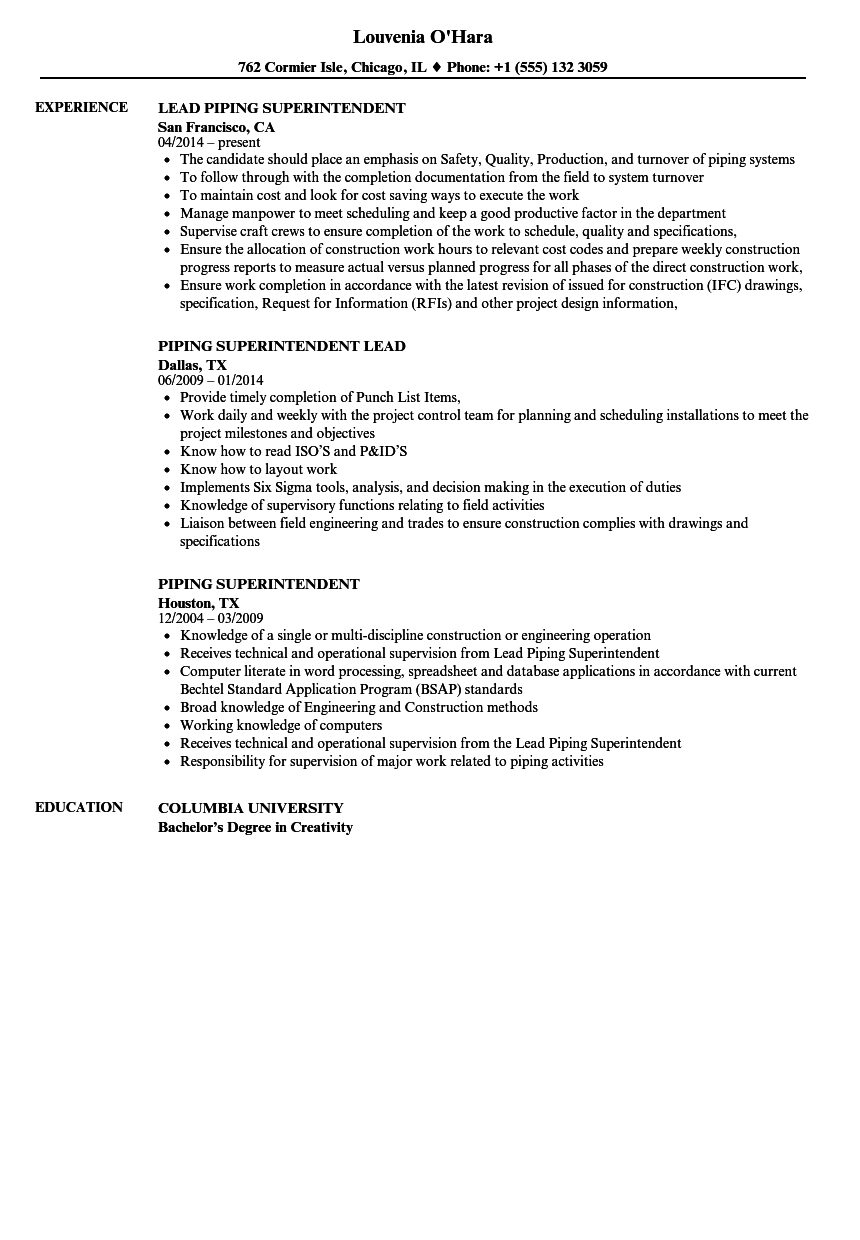 piping superintendent resume samples