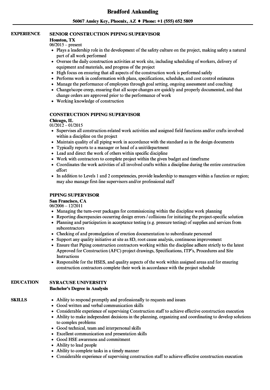 piping supervisor resume sles velvet