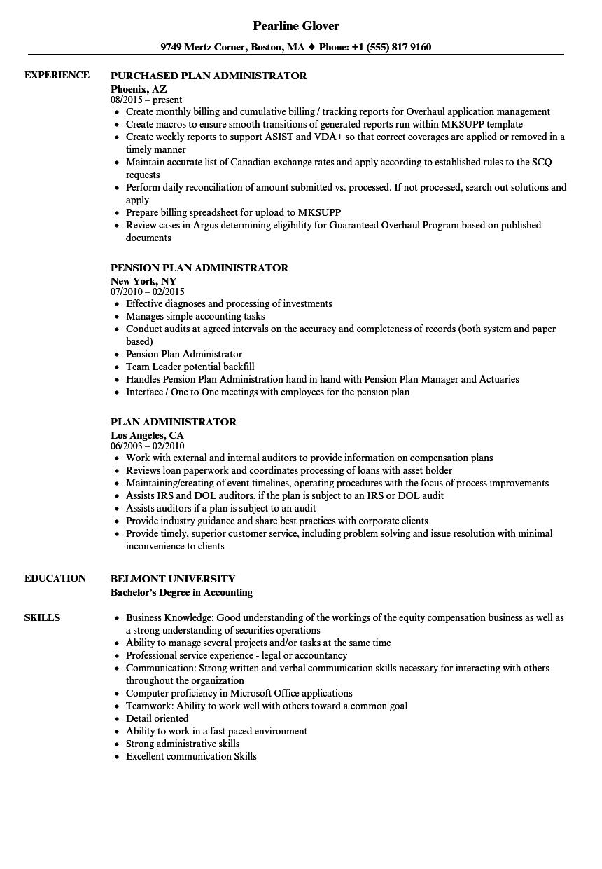 Download Plan Administrator Resume Sample As Image File