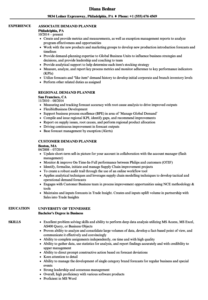 planner  demand resume samples