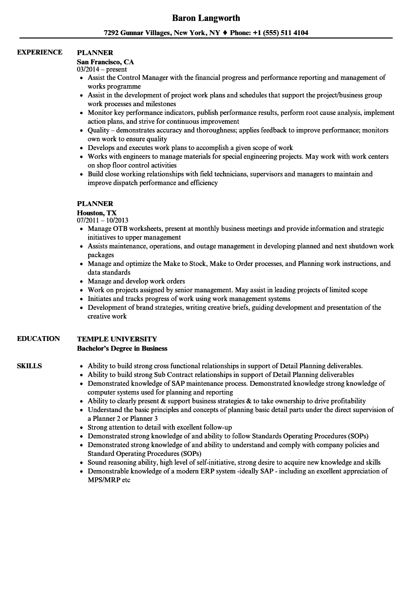 planner resume samples velvet jobs