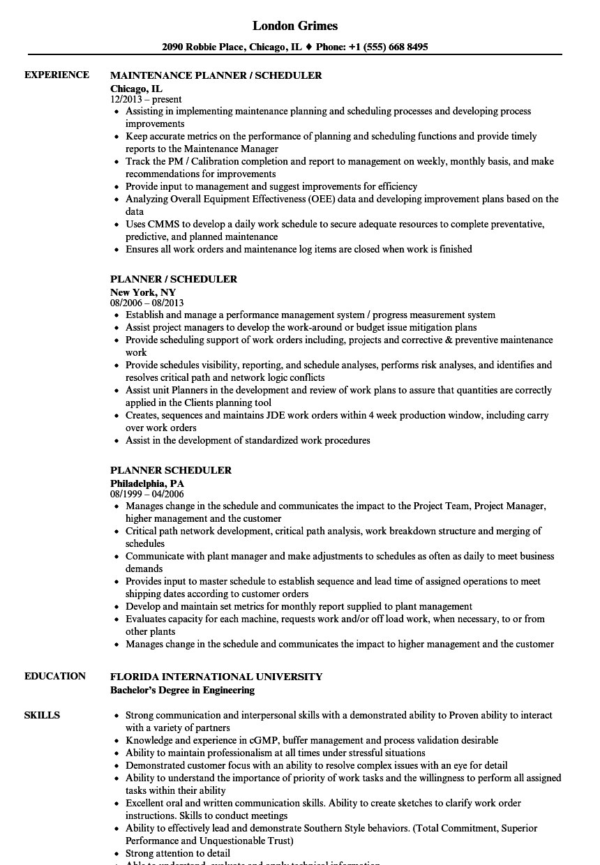 planner  scheduler resume samples