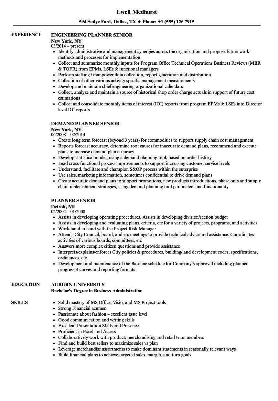 Planner Senior Resume Samples Velvet Jobs