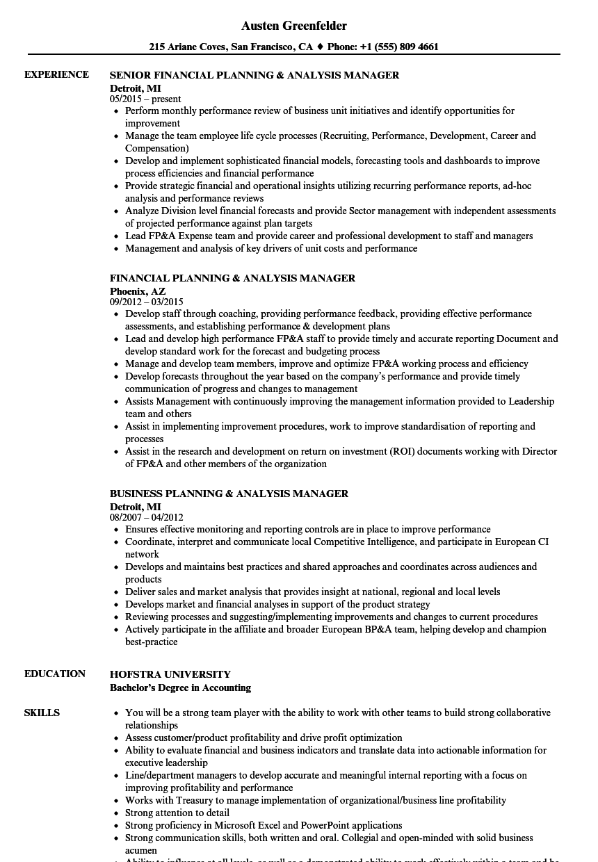 planning analysis manager resume samples