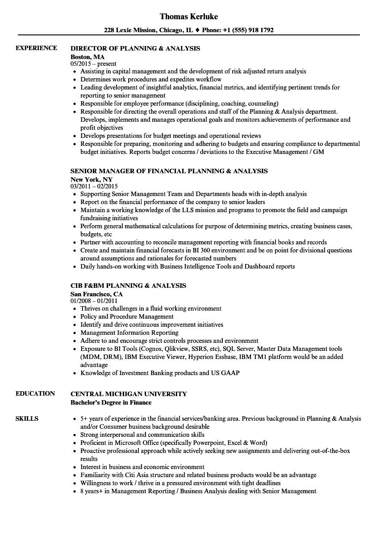 Planning Amp Analysis Resume Samples Velvet Jobs
