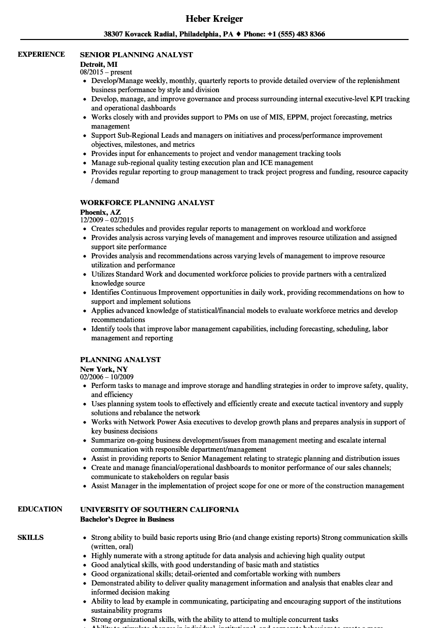 planning analyst resume samples