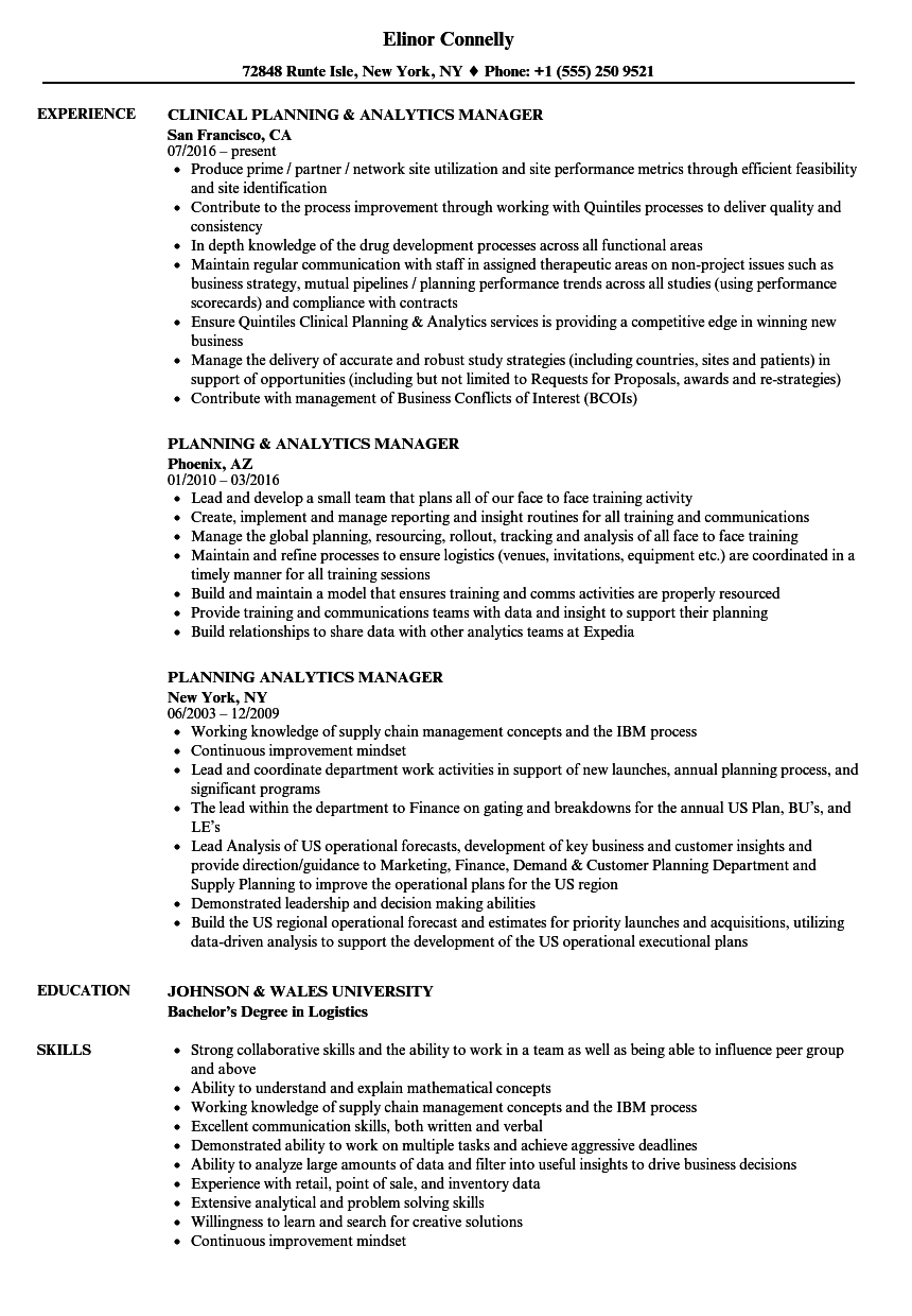 planning analytics manager resume samples