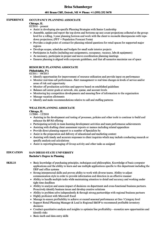 planning associate resume samples velvet jobs