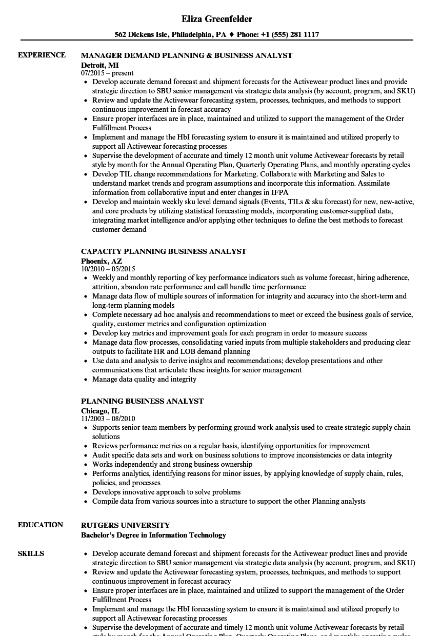 Download Planning Business Analyst Resume Sample As Image File