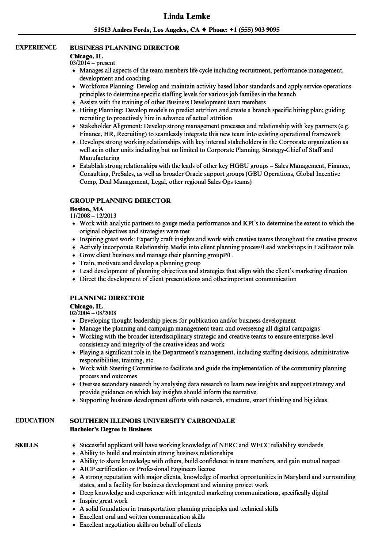 Planning Director Resume Samples Velvet Jobs