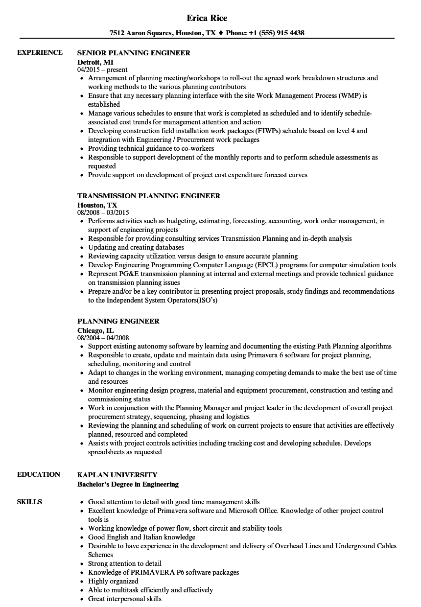 planning engineer resume samples velvet jobs