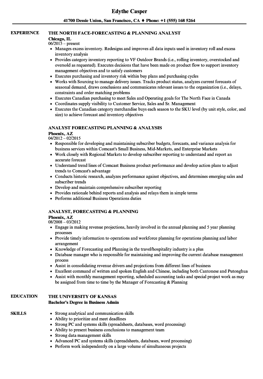 planning    forecasting analyst resume samples