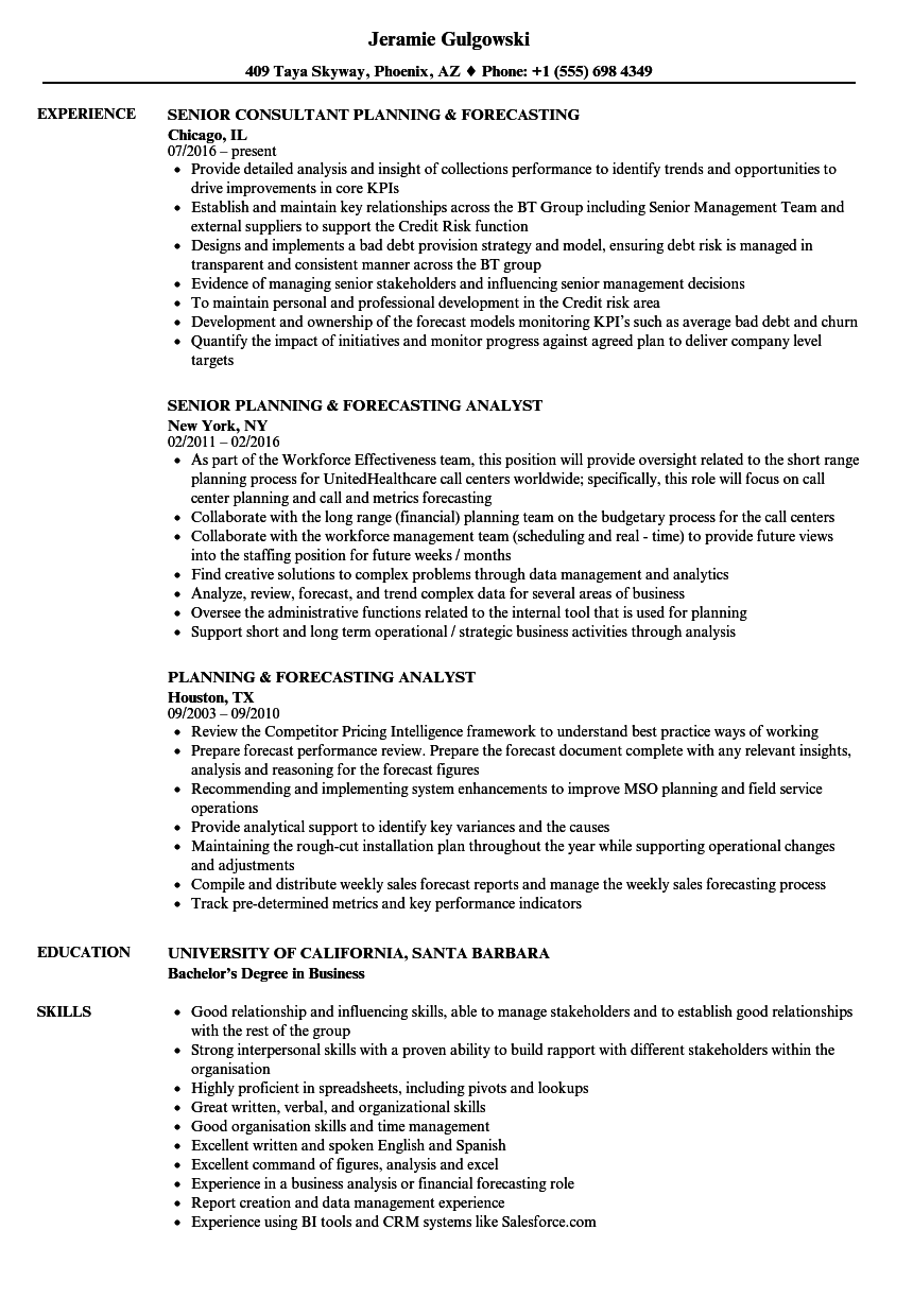 Planning Forecasting Resume Samples Velvet Jobs
