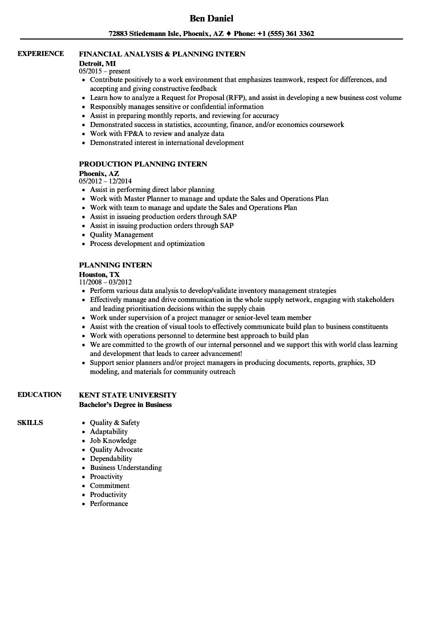 Master Production Scheduler Sample Resume Daily Planner Template Word
