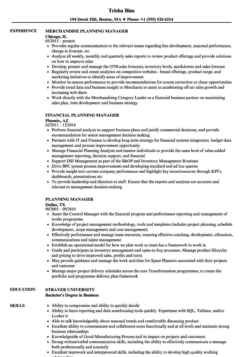 planning manager resume samples