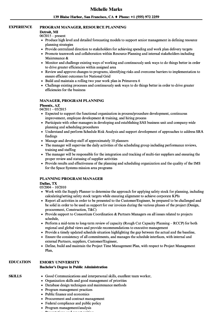 Planning Program Manager Resume Samples | Velvet Jobs