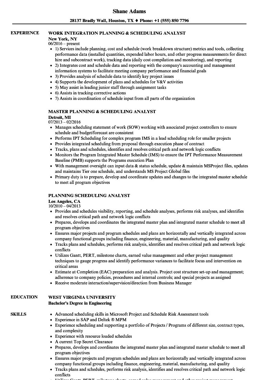 planning scheduling analyst resume samples