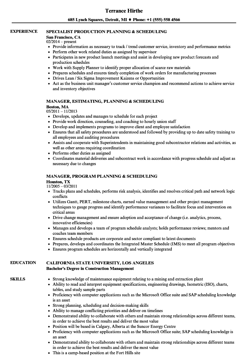 planning  u0026 scheduling resume samples