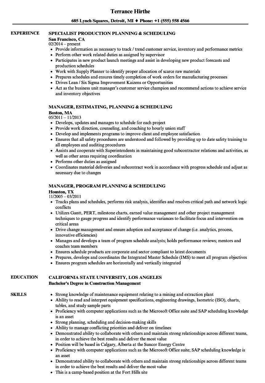 Planning  amp  Scheduling Resume Samples