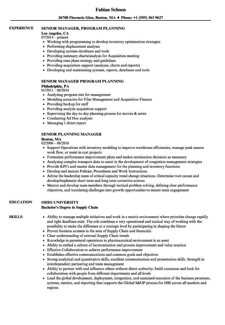 planning senior manager resume samples