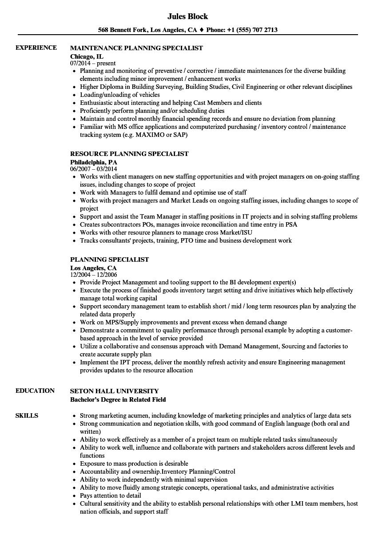 Planning Specialist Resume Samples | Velvet Jobs