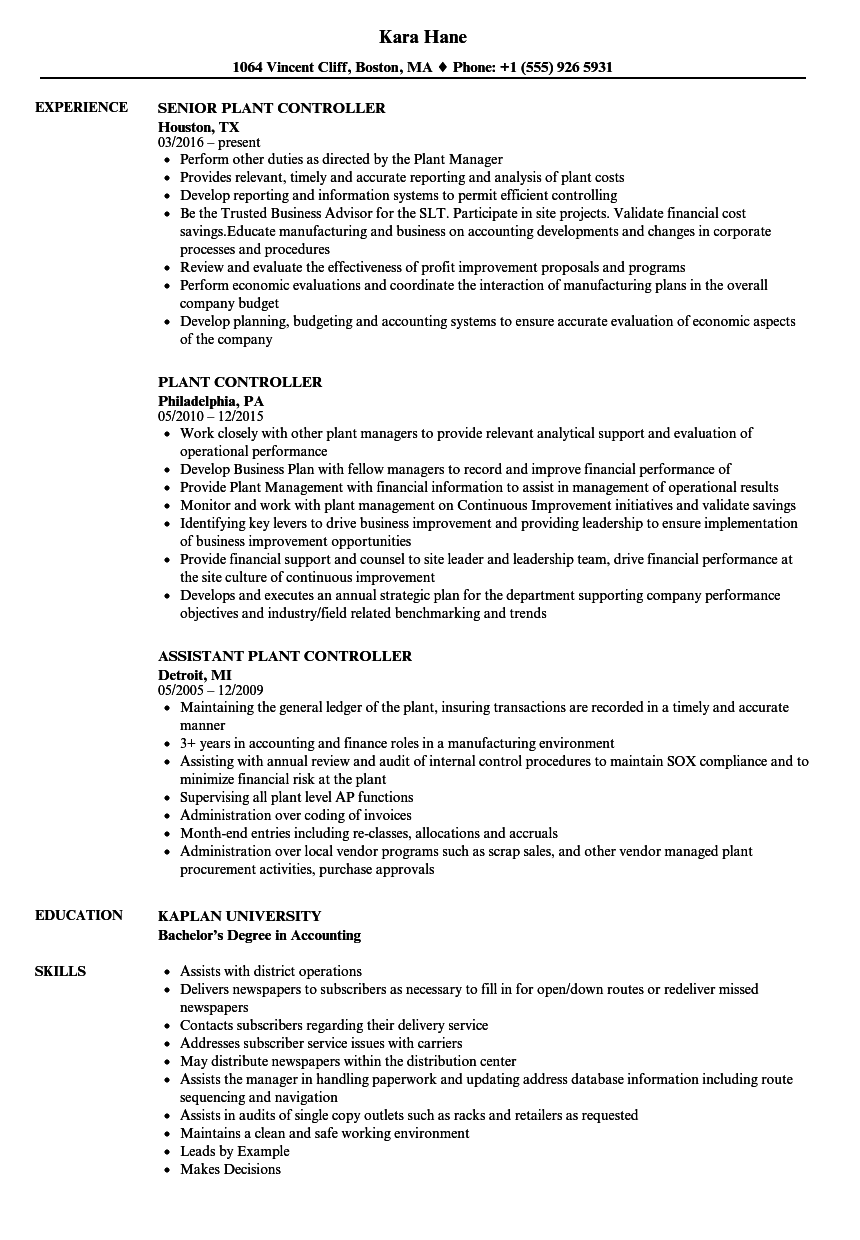 Plant Controller Resume Samples | Velvet Jobs