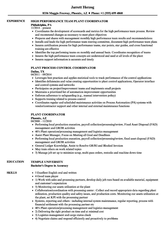 plant coordinator resume samples