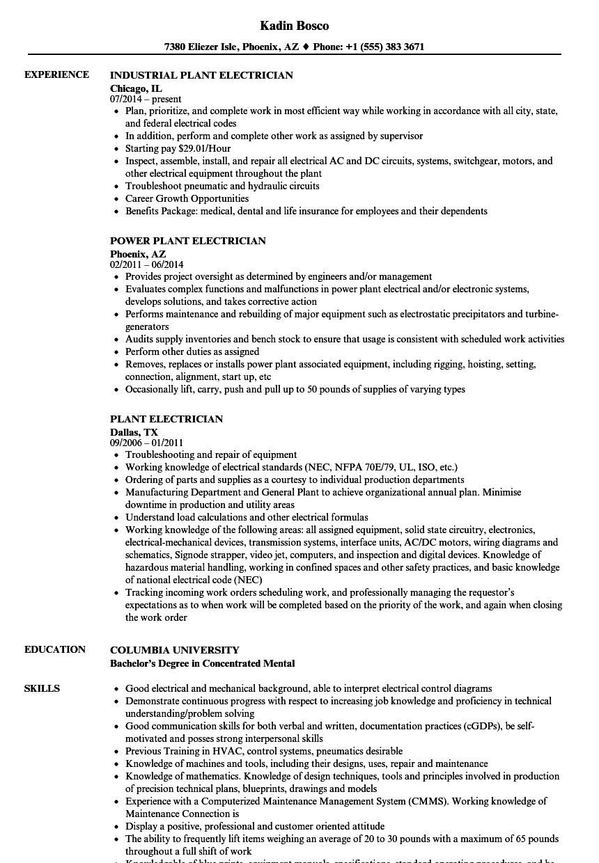Plant Electrician Resume Samples | Velvet Jobs
