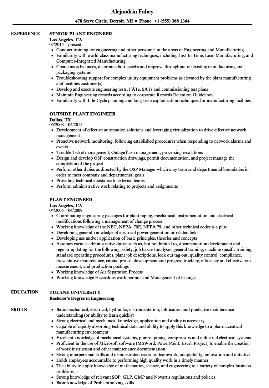 Plant Engineer Resume Samples | Velvet Jobs