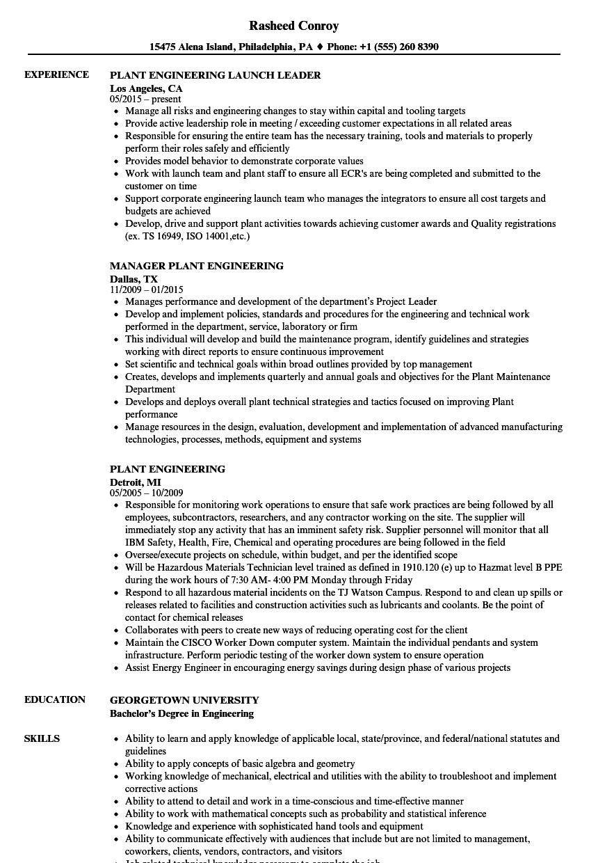 Plant Engineering Resume Samples | Velvet Jobs